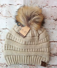 CC Beanie with Fur pom pom