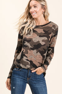 Cozy in Camo knit top