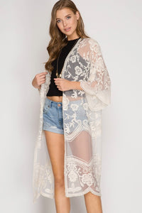 Desert Lace duster in cream