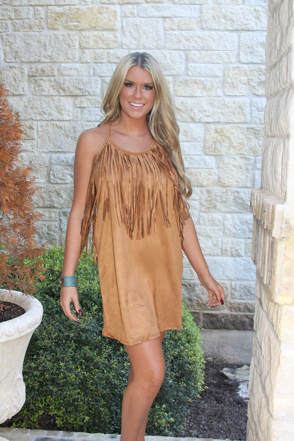Fringe Suede dress in Camel