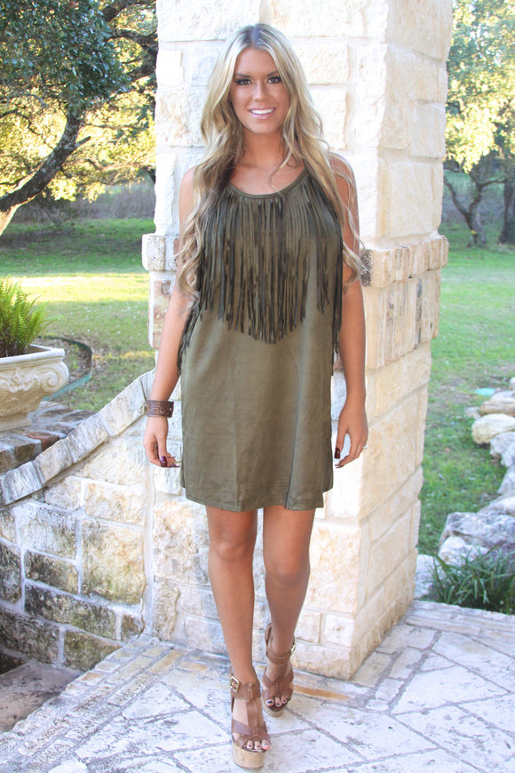 Fringe Suede dress in Olive