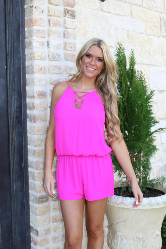 Funky in Fuschia Romper  by Single Los Angeles
