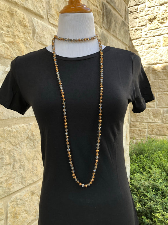 Beaded Layering Necklace Bronze