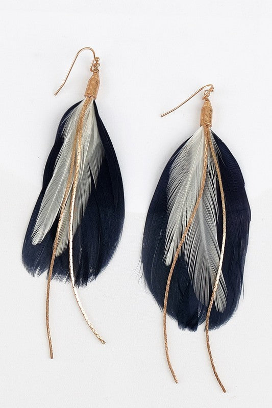 Feather earrings in Navy