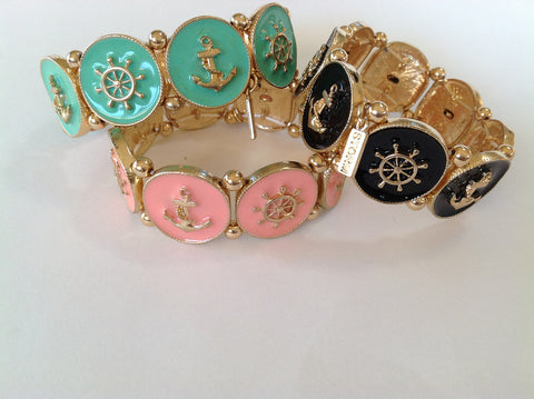 Anchor and Ship wheel enamel stretch bracelet