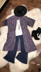 Satin Duster in Purple