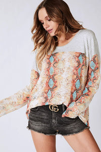 Turquoise Snake Print Top