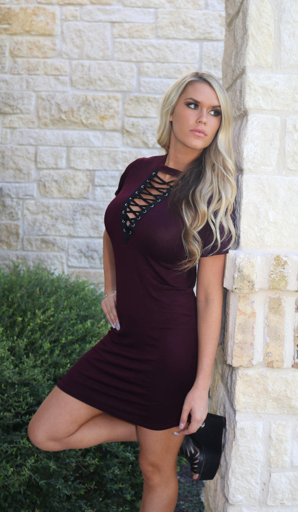 Lace Up dress in Wine