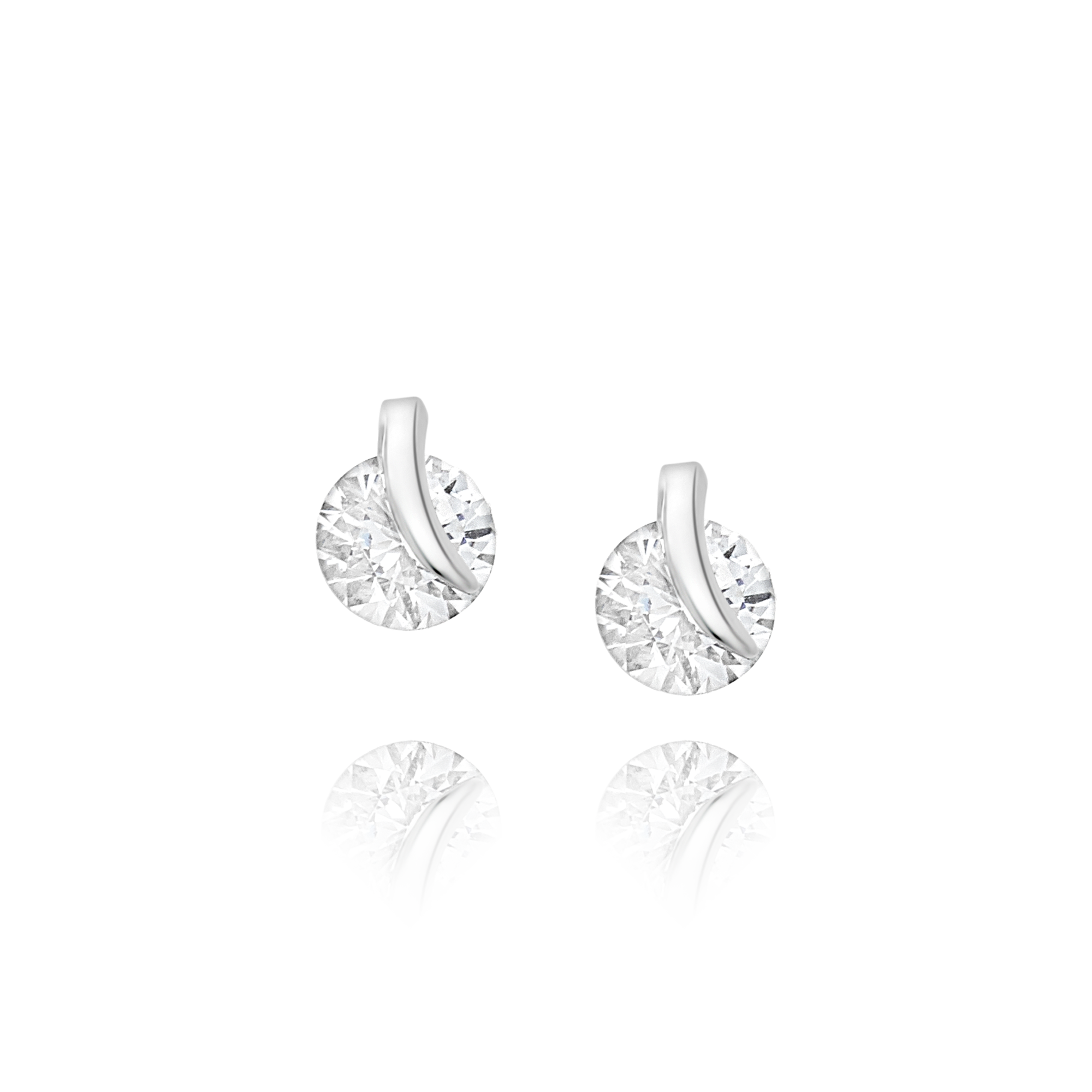 Cubic Zirconia and White Gold Earrings