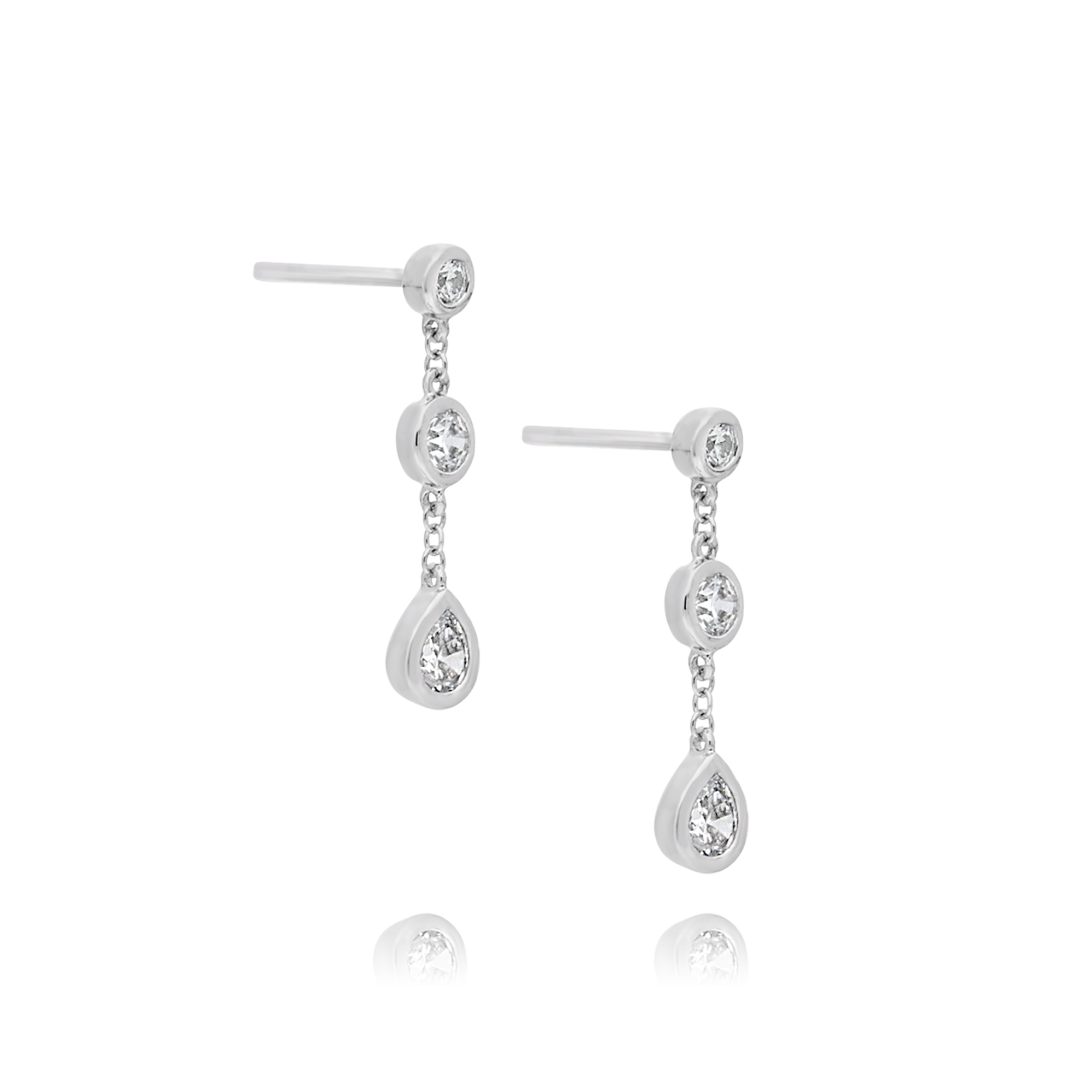 Cubic Zirconia Drop Earrings White Gold