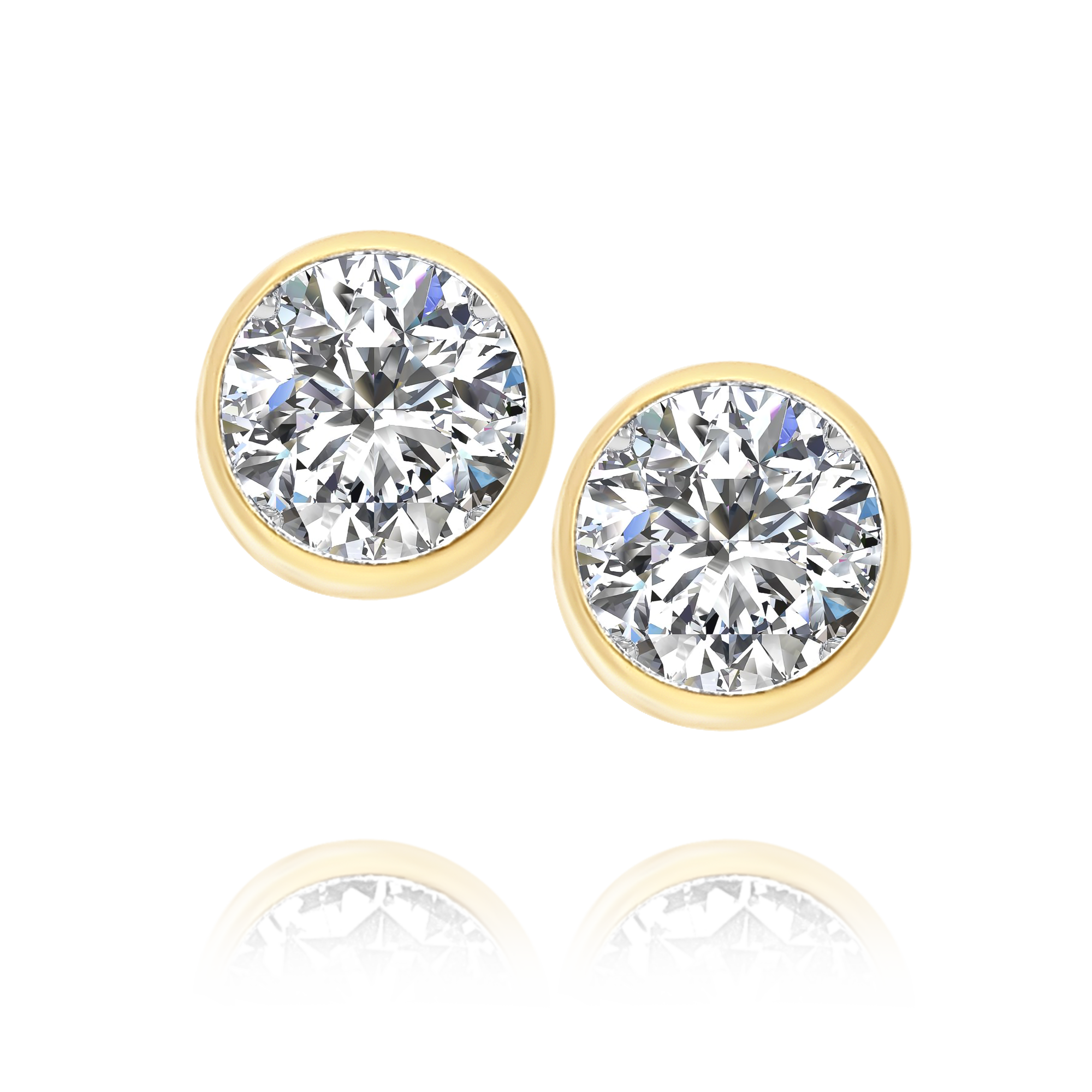 Bezel Set Cubic Zirconia Stud Earrings
