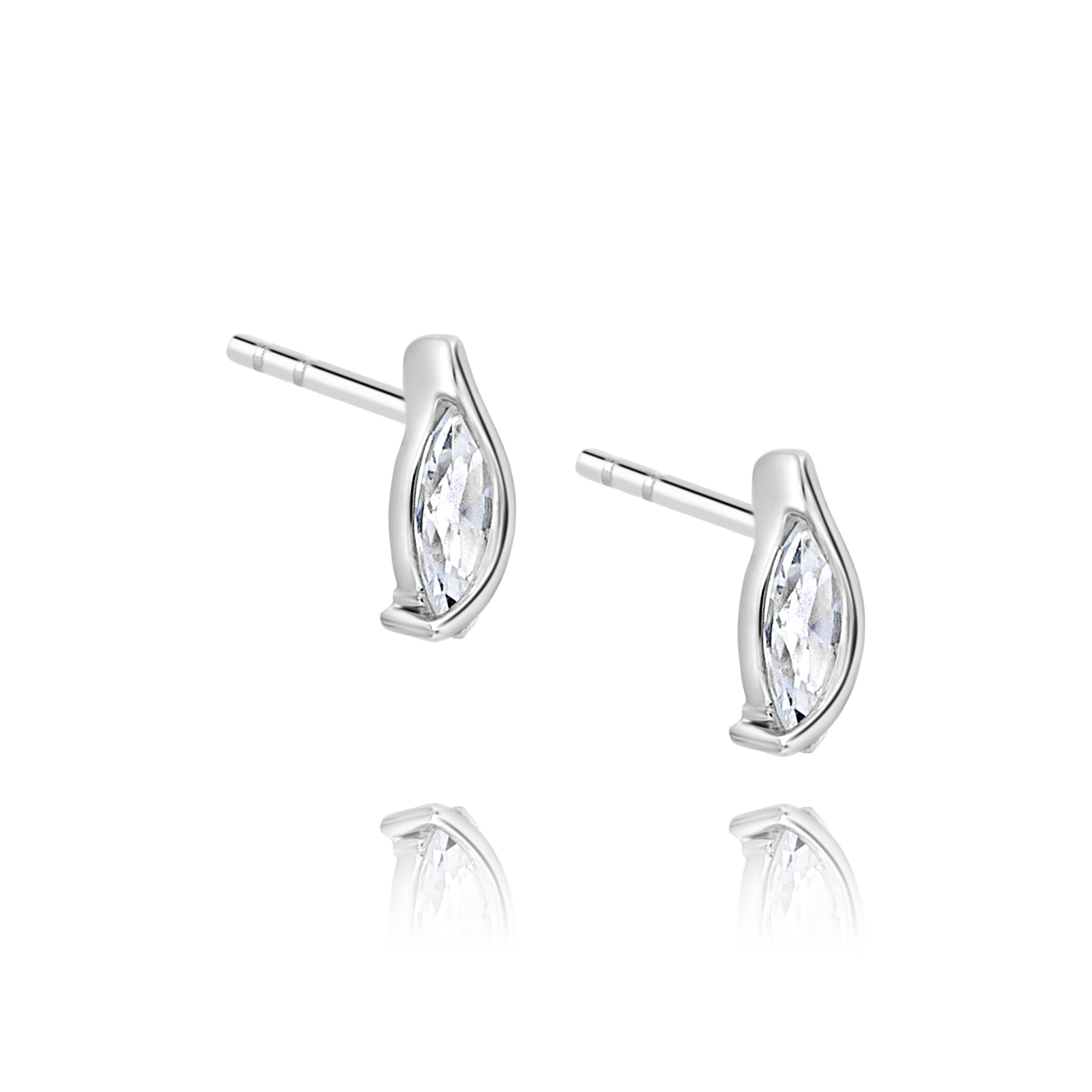 White Gold Marquise Cubic Ziconia Studs
