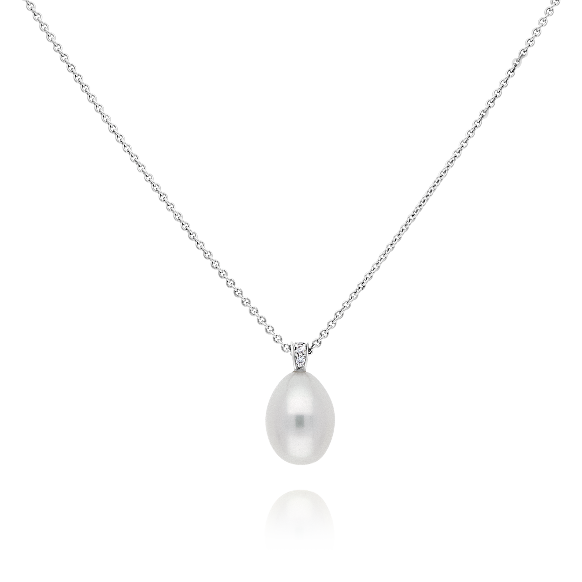 18ct Drop Pearl and Diamond Pendant