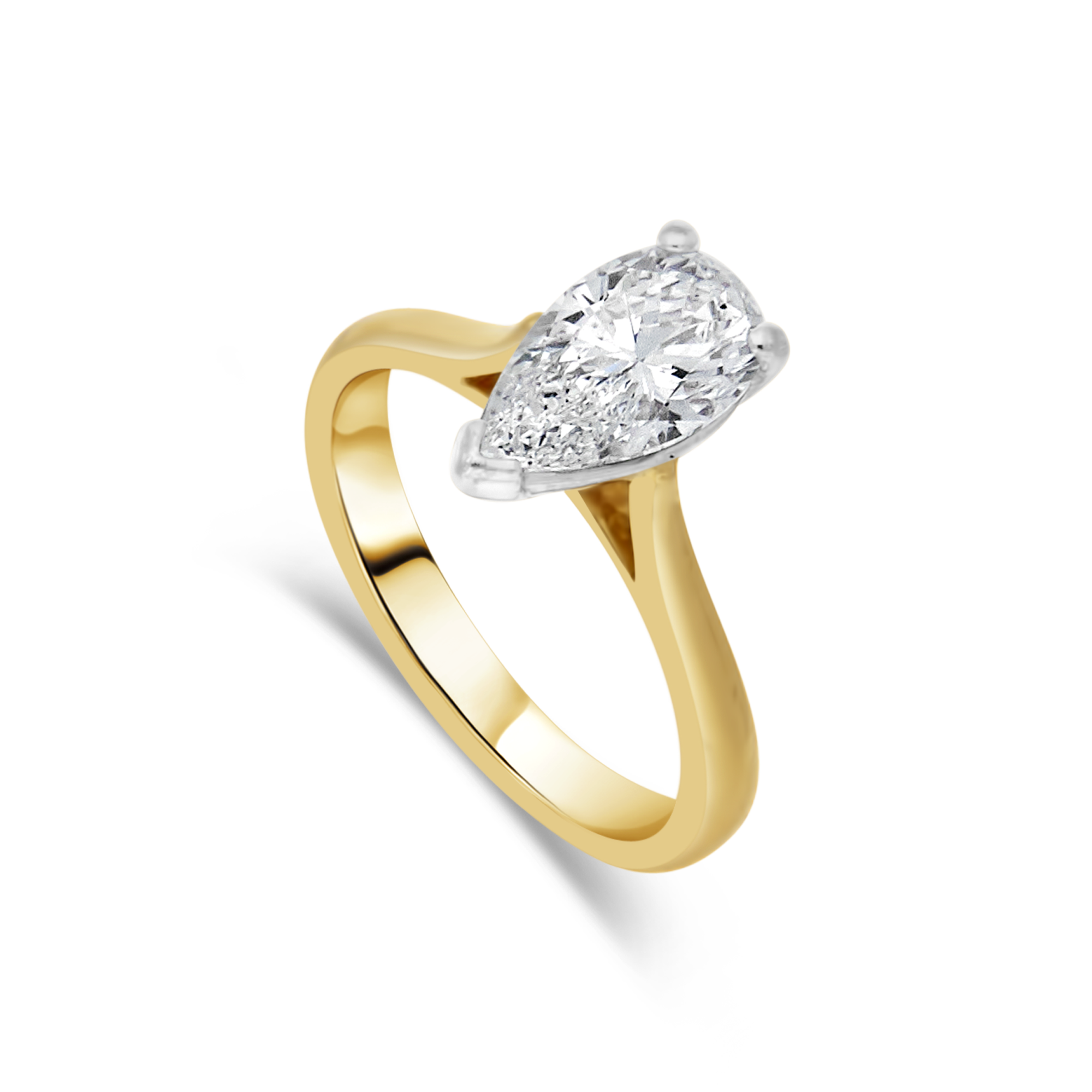 Classic Pear Cut Solitaire, Yellow Gold