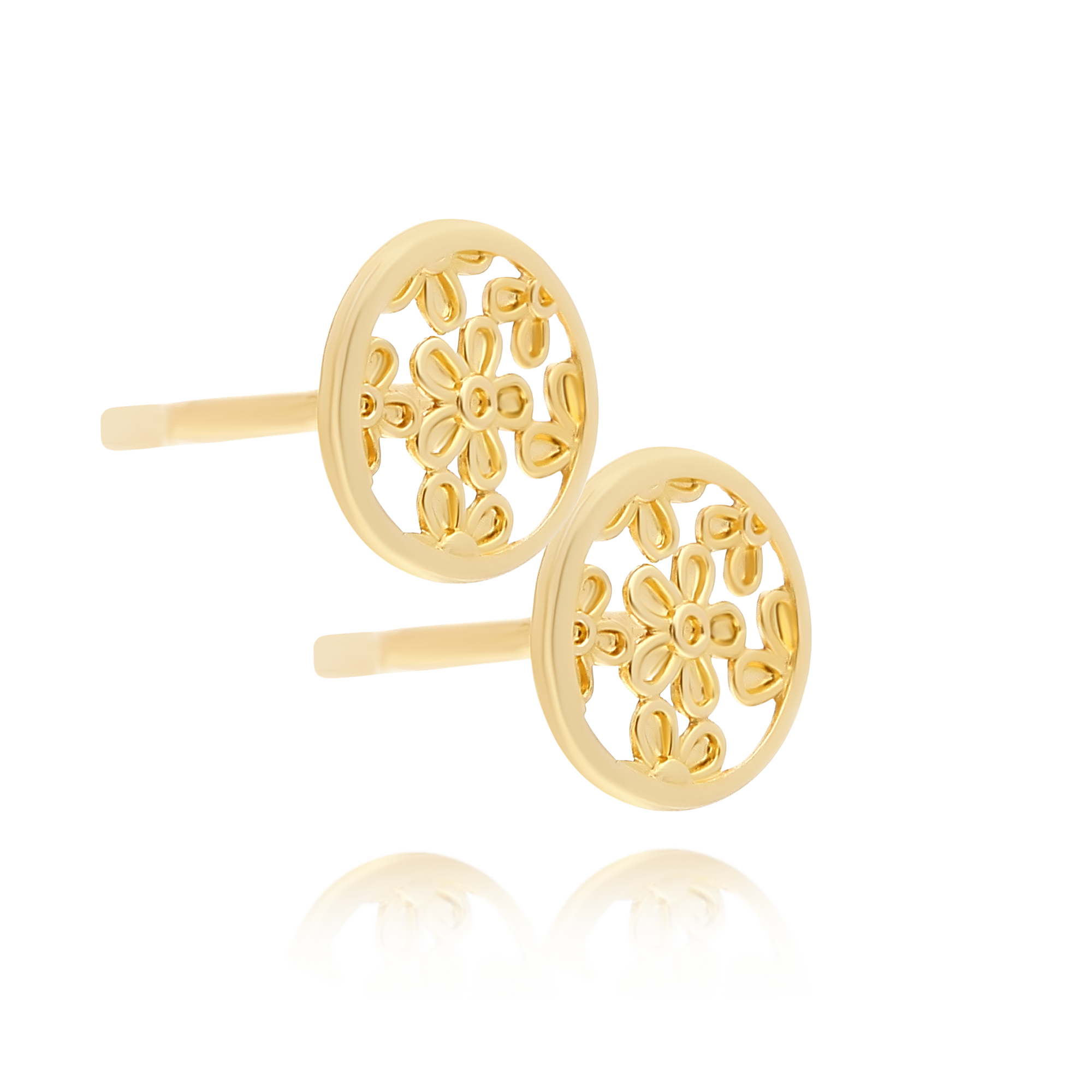Yellow Gold Filligree Stud Earrings