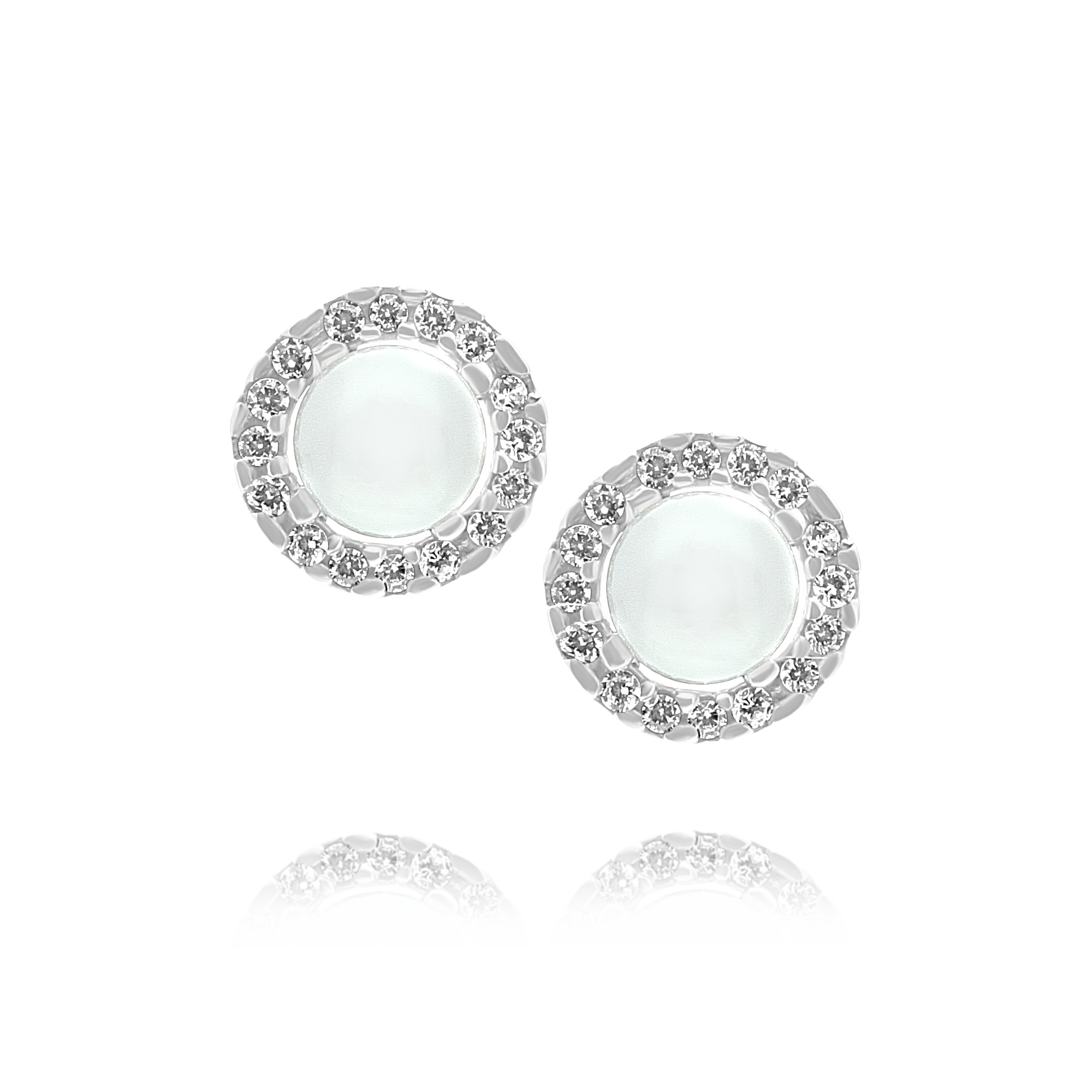 Pearl Earrings with Cubic Zirconia Surround