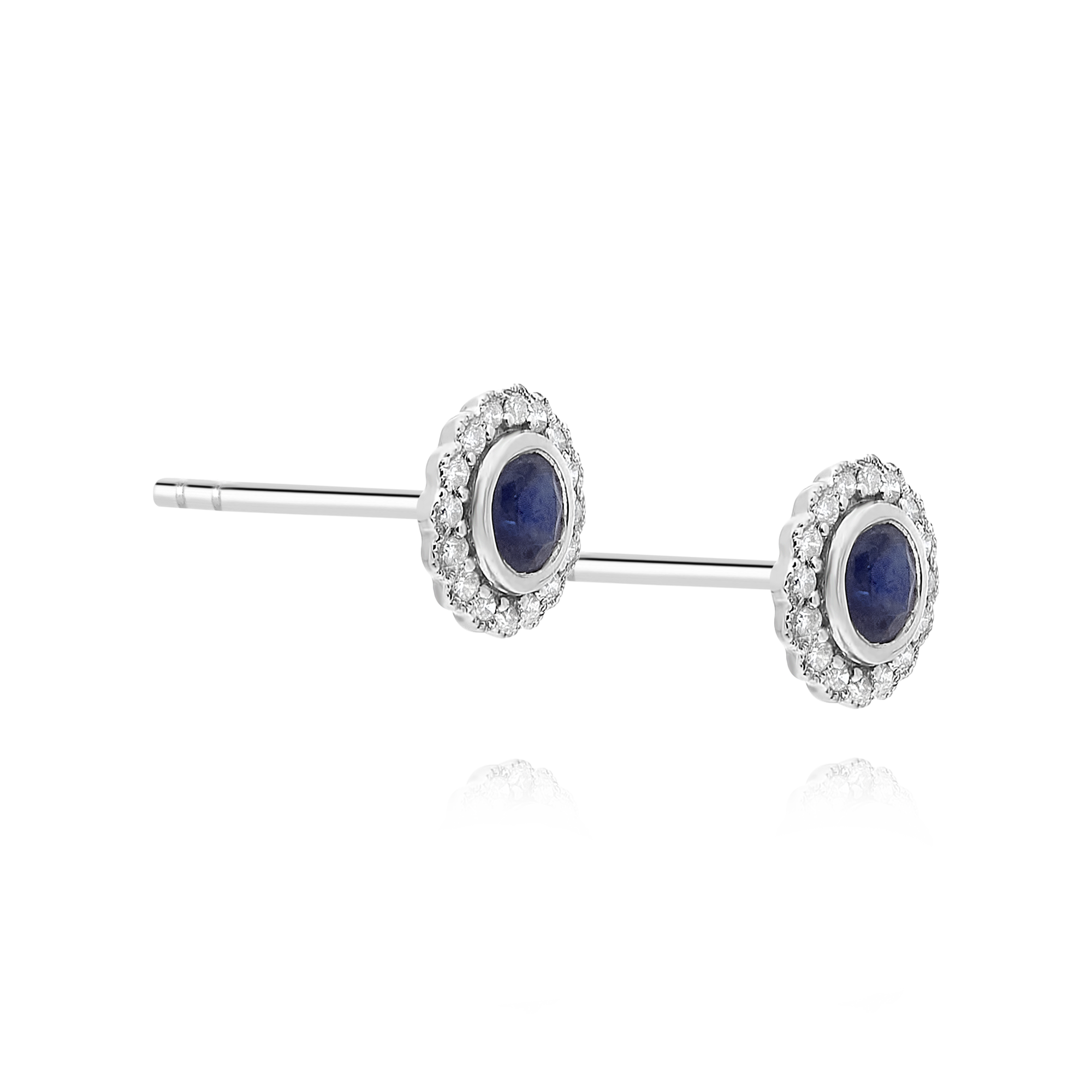 Sapphire and Diamond Bezel Set Earrings