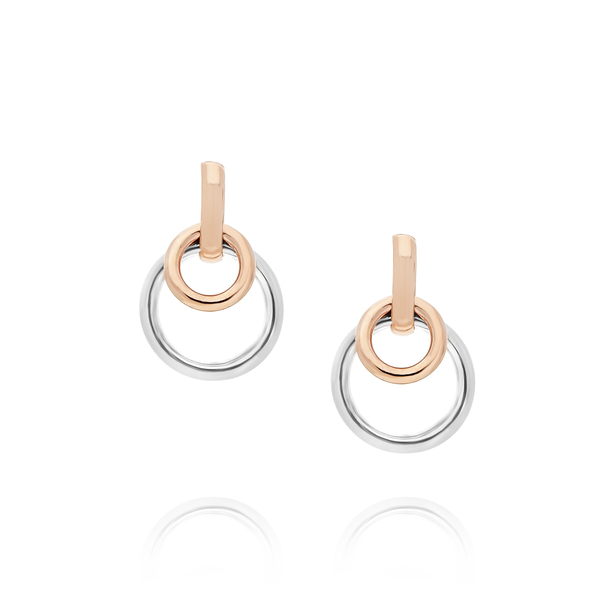 9ct Rose and White Gold Circle Earrings