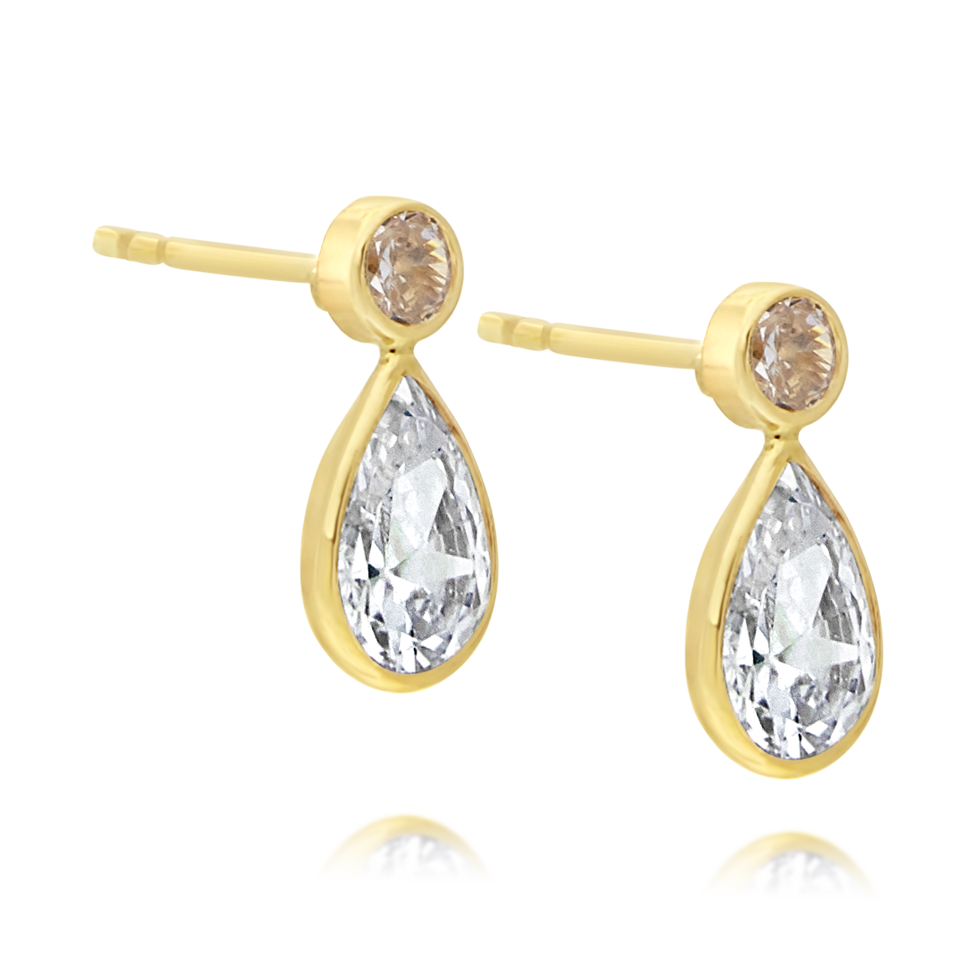 Cubic Zirconia Drop Earrings Yellow Gold