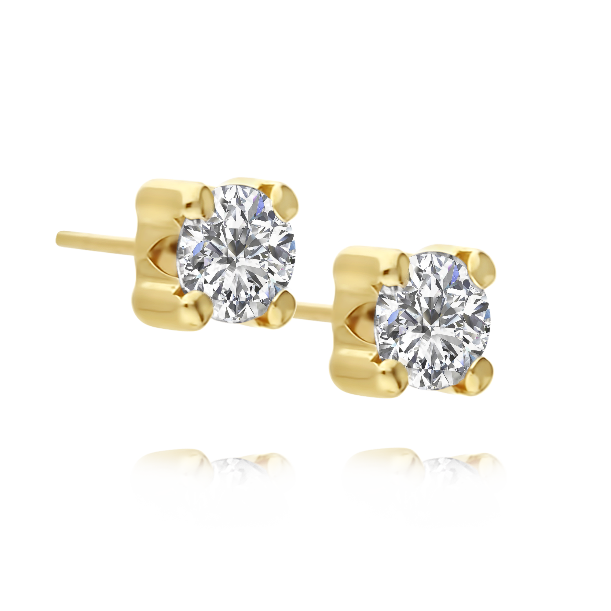 Cubic Zirconia Studs Yellow Gold