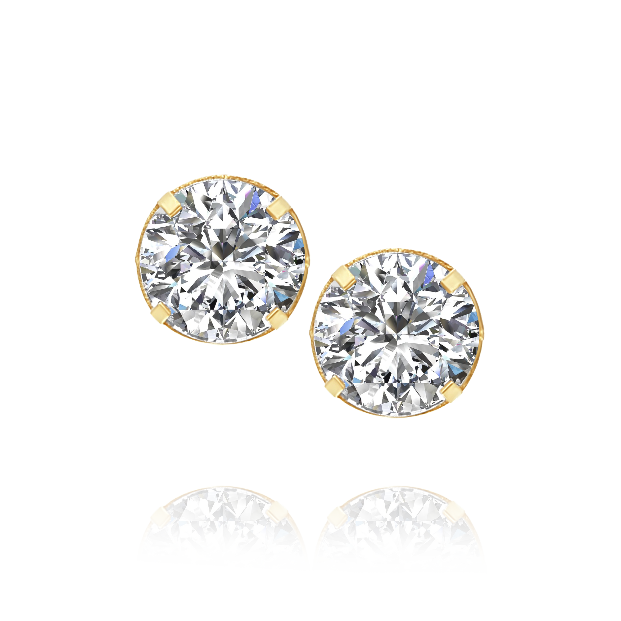 Cubic Zirconia Stud Earrings Yellow Gold