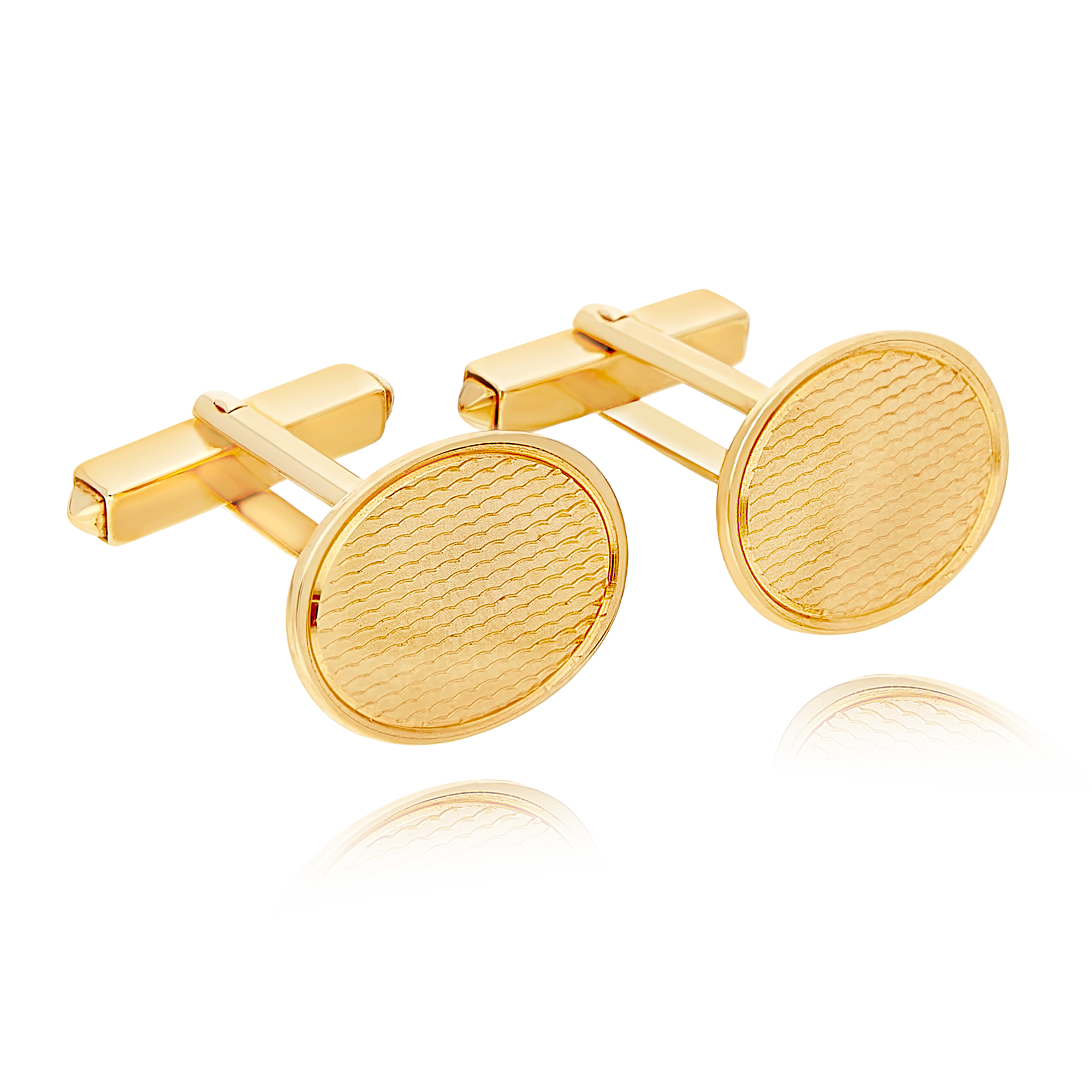 Gold Cufflinks With Pattern Detail