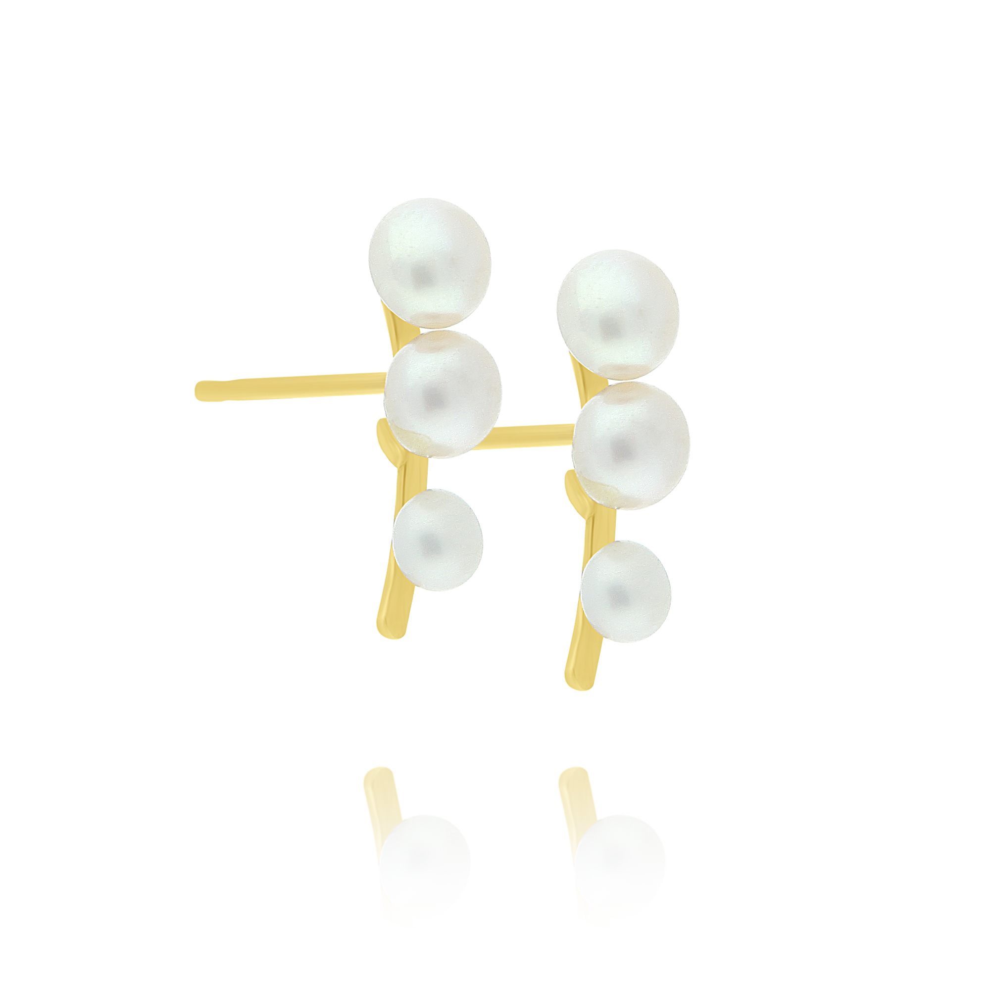 Three Pearl Drop Earrings