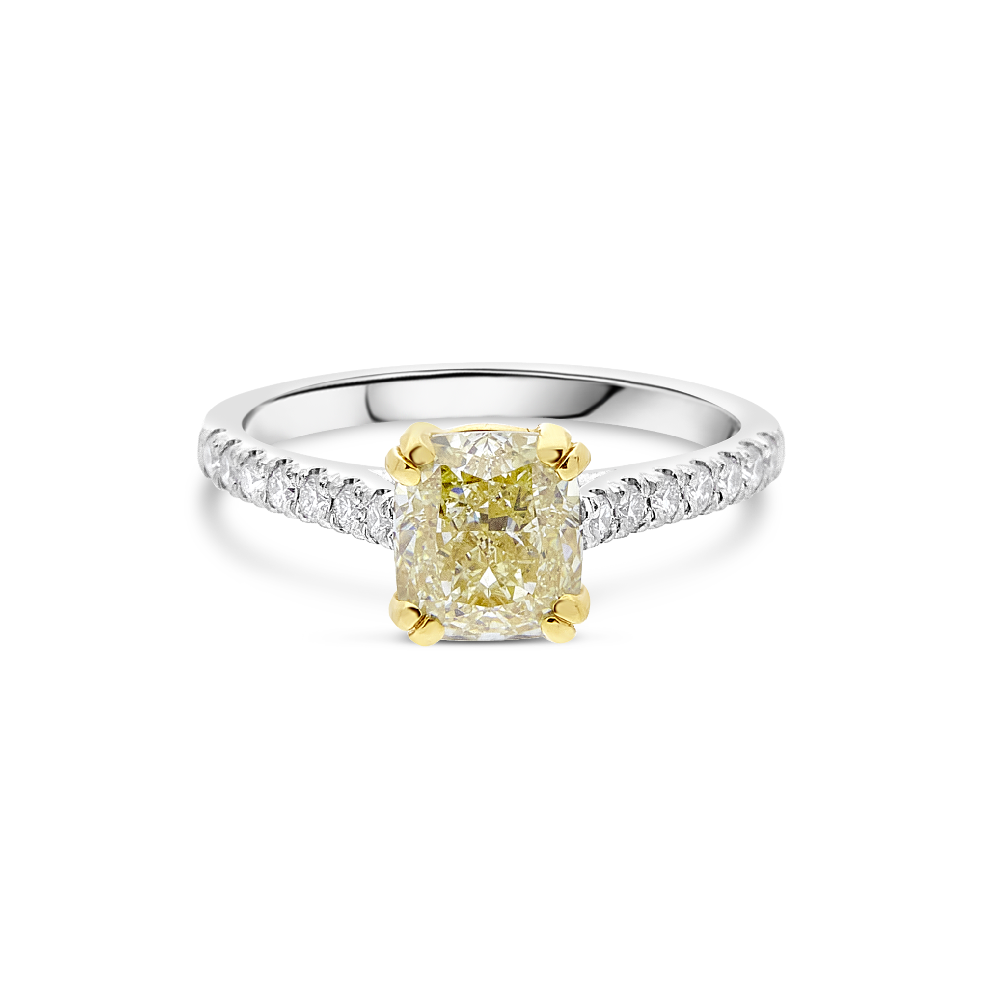 "The ""Amity"" with  Cushion Cut Yellow Diamond"