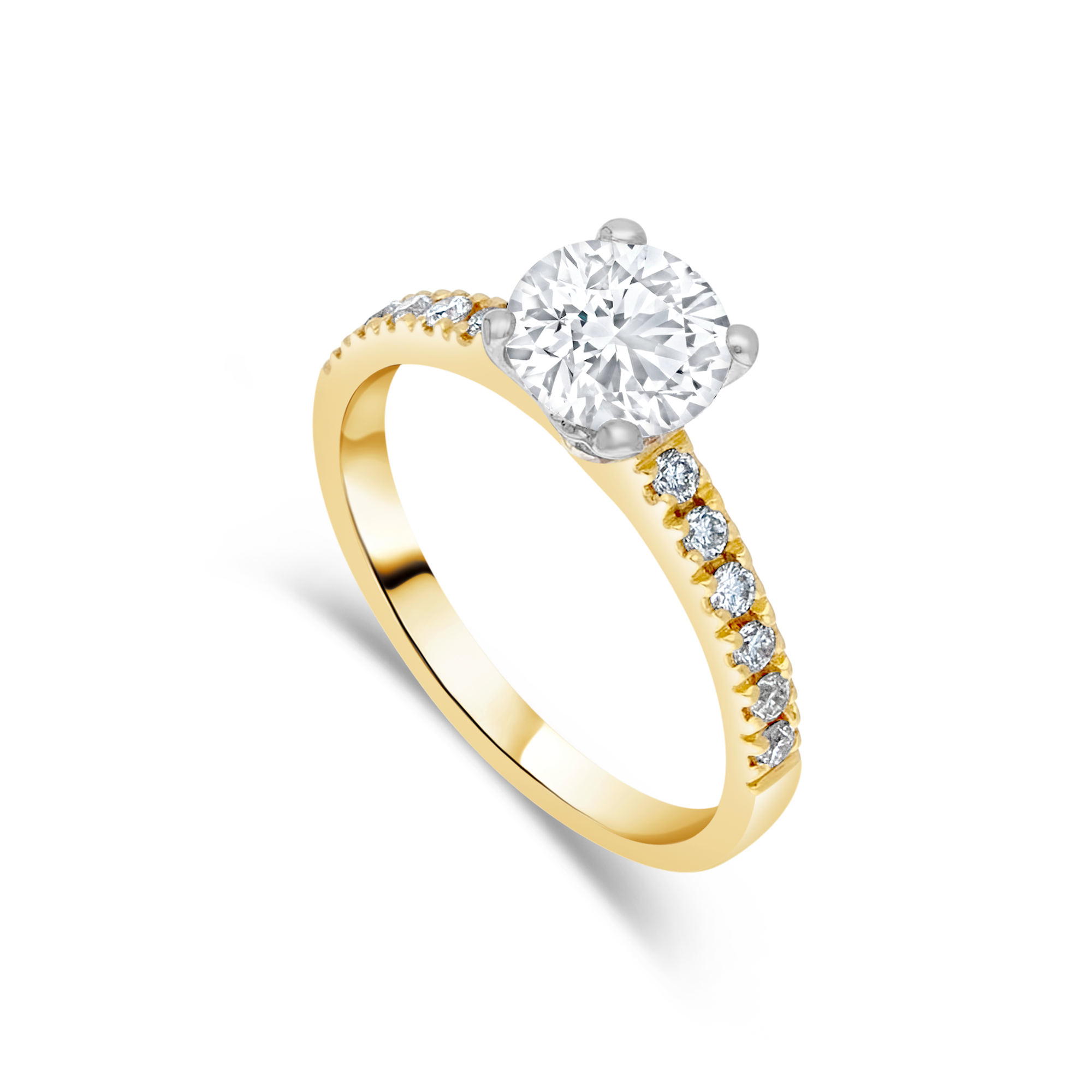 "The ""Temptress"" with Round Brilliant, Yellow Gold, 1.31ct total"