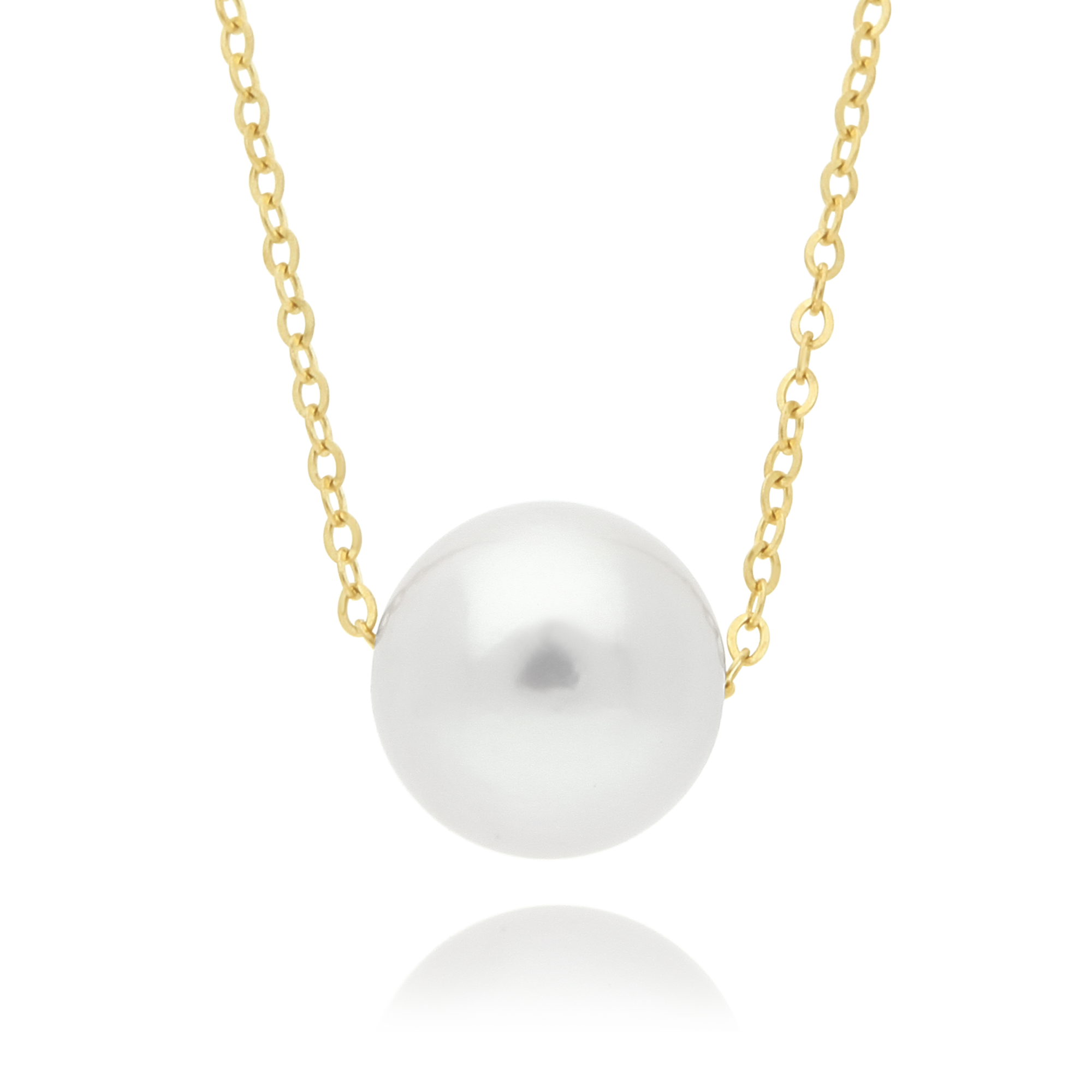 Floating Pearl Necklace Yellow Gold
