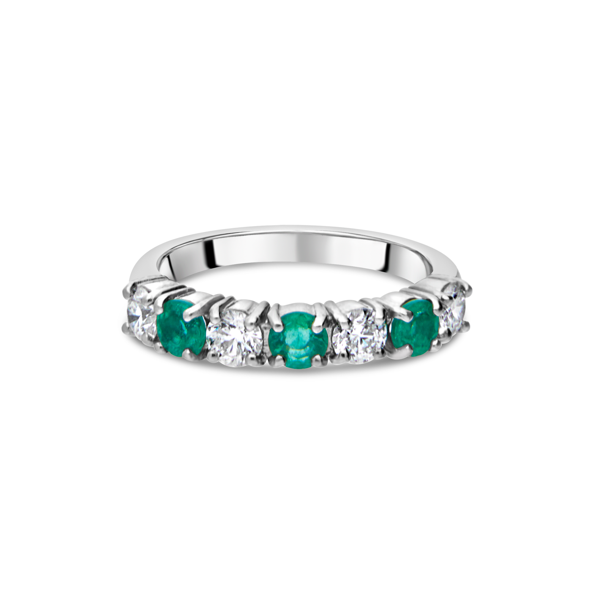 "The ""Galeria"" Emerald and Diamond 7 Stone, Platinum"