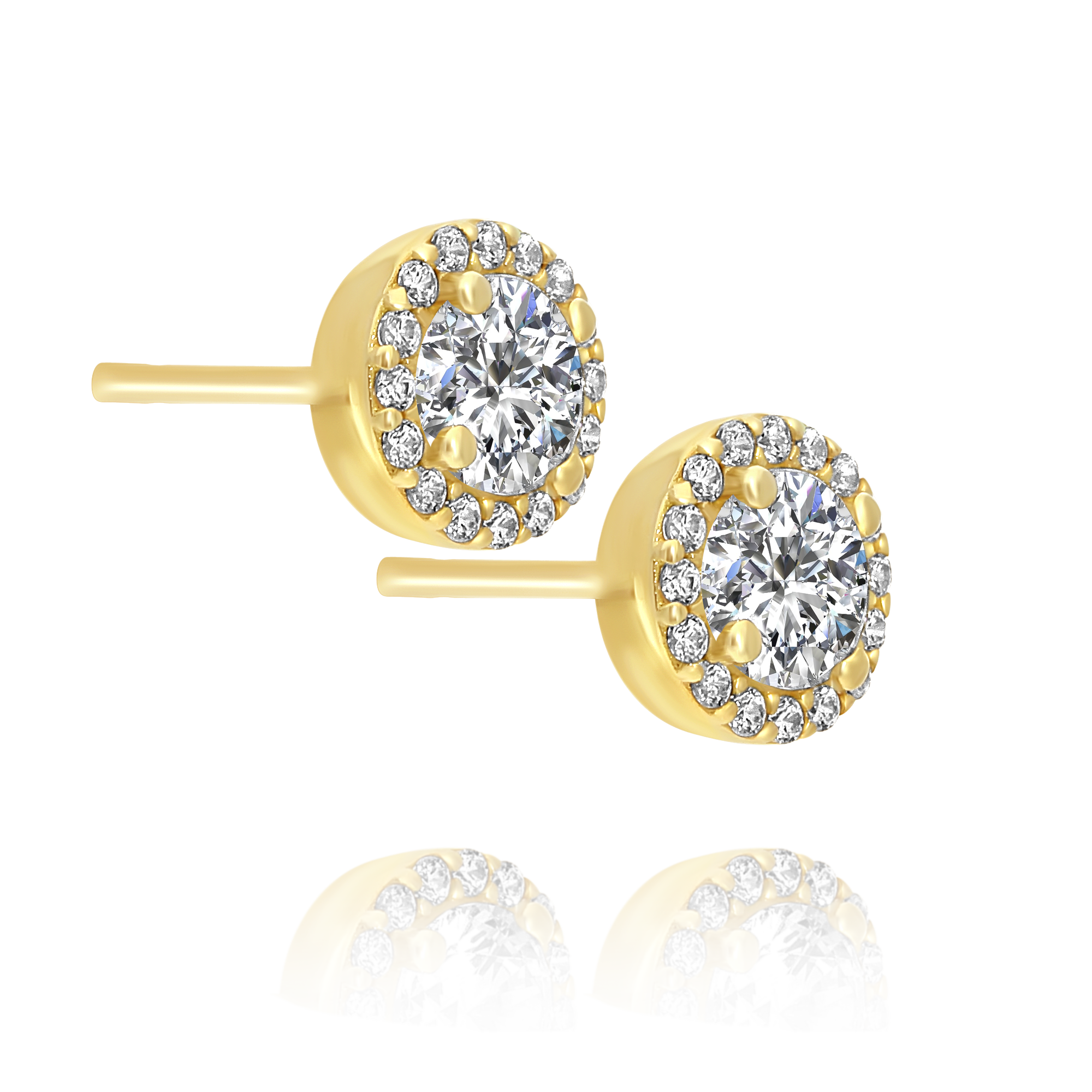 Halo style Cubic Zirconia Earrings Yellow Gold
