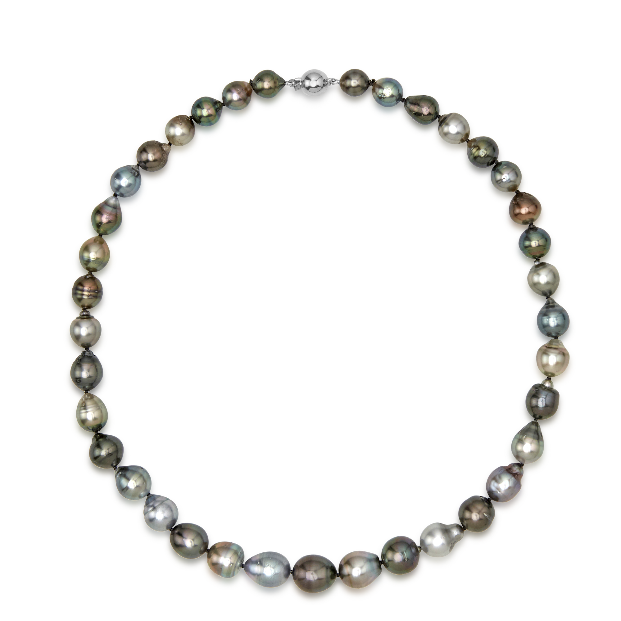9ct White Gold Baroque Tahitian Pearl Strand
