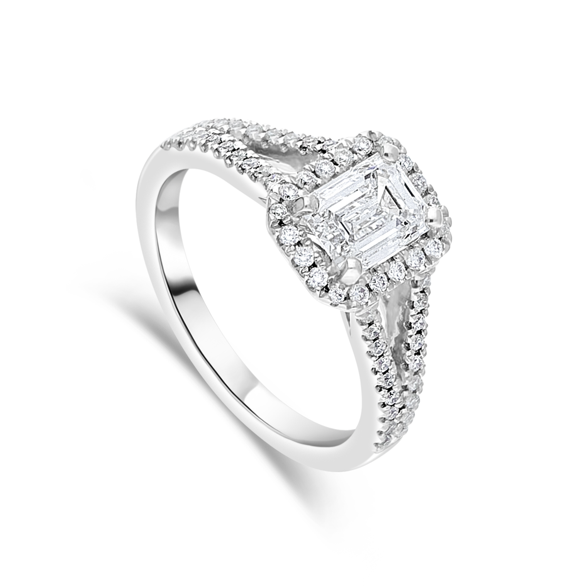 "The ""Ascendance"" with Emerald Cut Platinum, 0.97ct total"