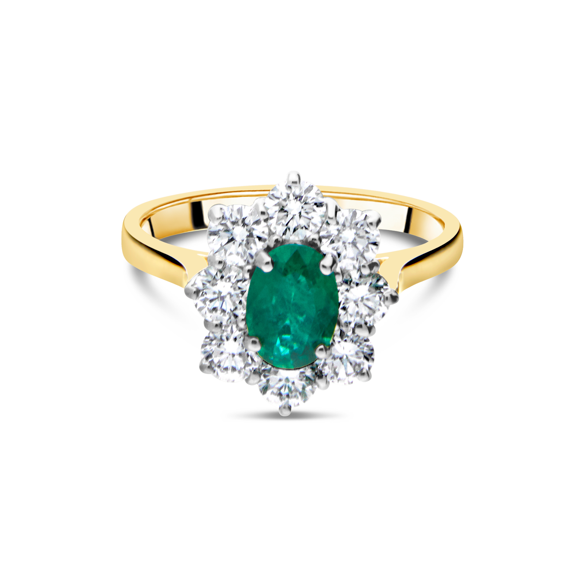 "The ""Diana"" Emerald and Diamond, Yellow Gold"