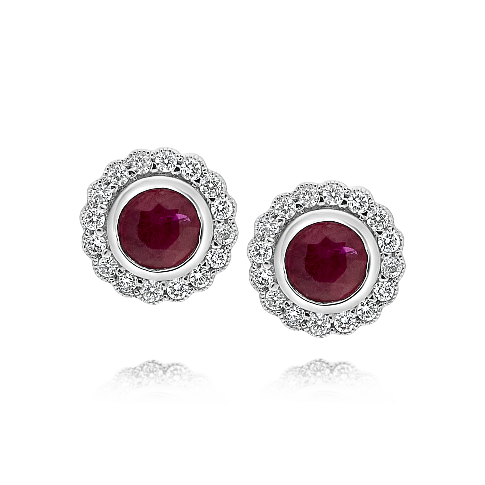 Ruby and Diamond Bezel Set Earrings