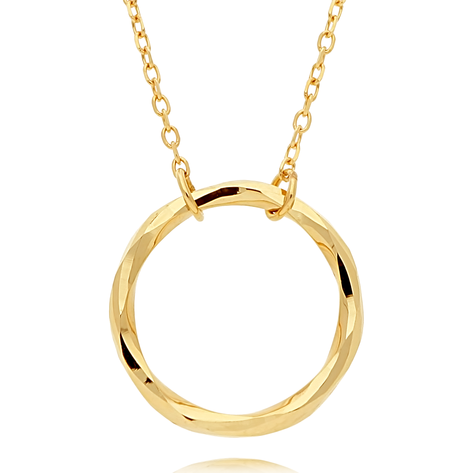 Gold Circle Pendant Textured Finish