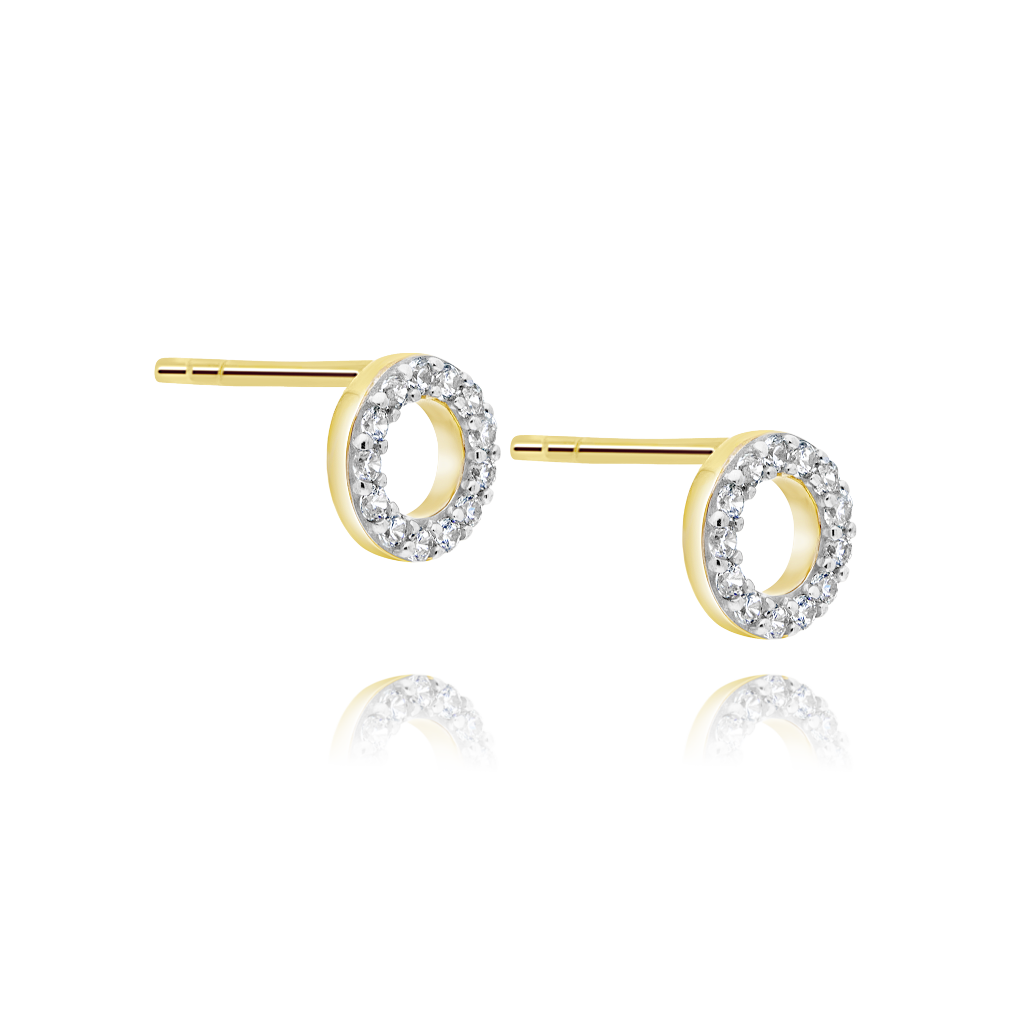 9ct Gold Cubic Zirconia Circle Earrings