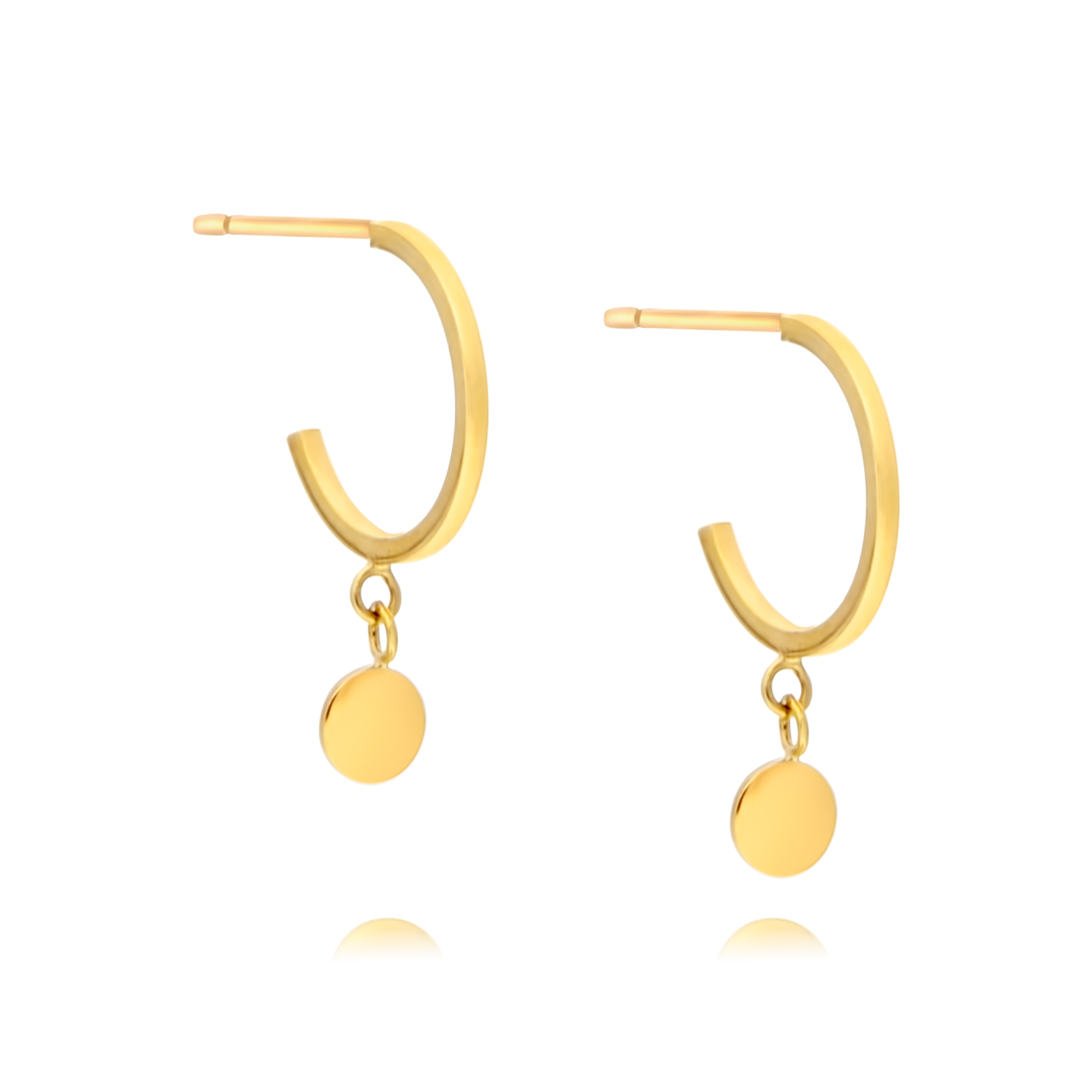 9ct Gold Hoops with Disc Drop