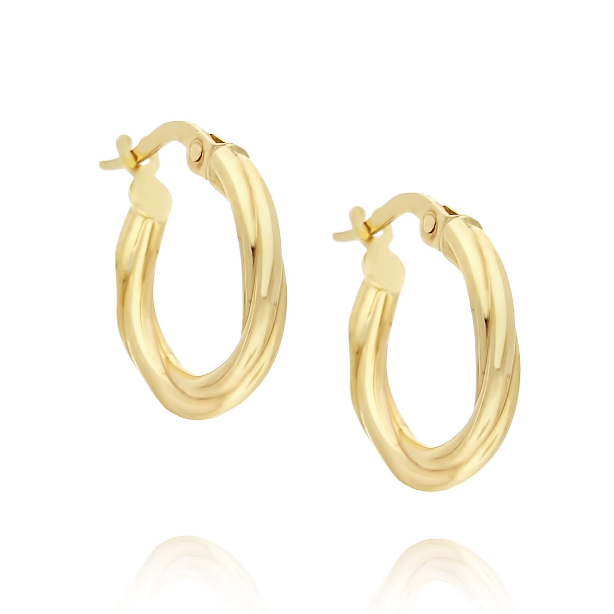 9ct Gold Hoop Earrings Lined Finish