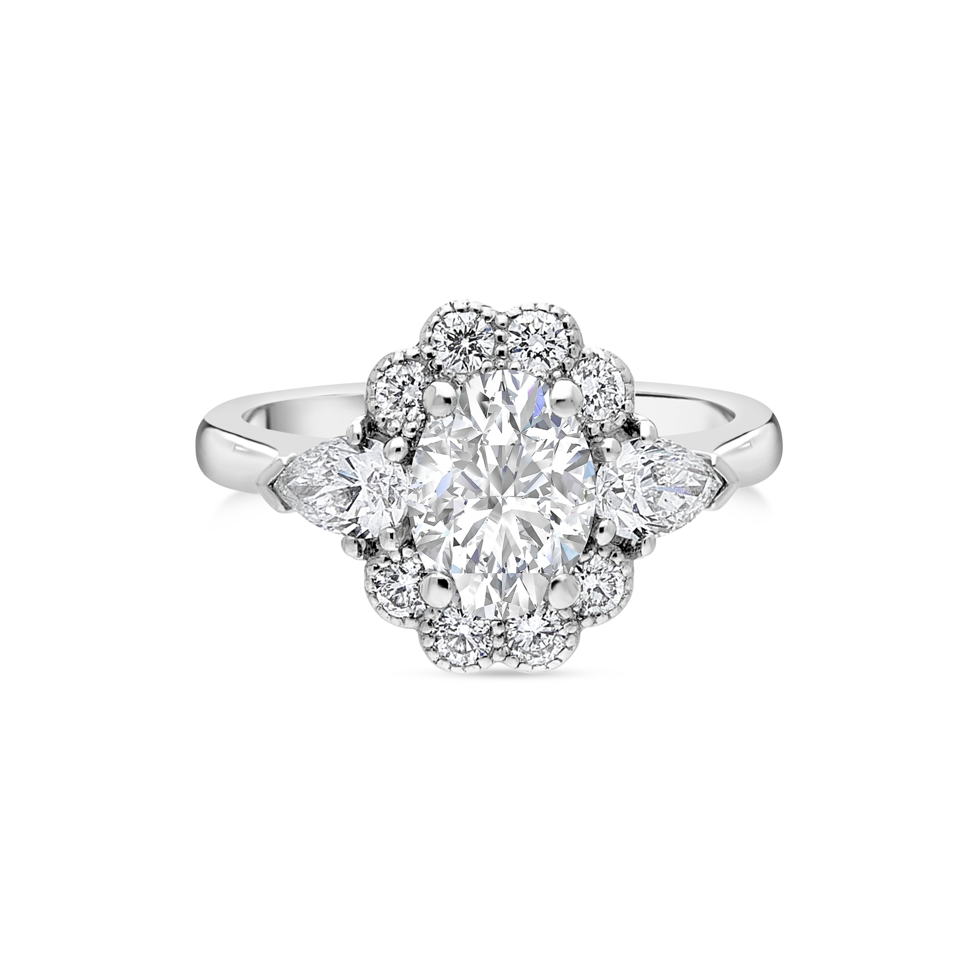 "The ""Kate Petal"" with Oval Diamond Platinum, 1.94ct total"