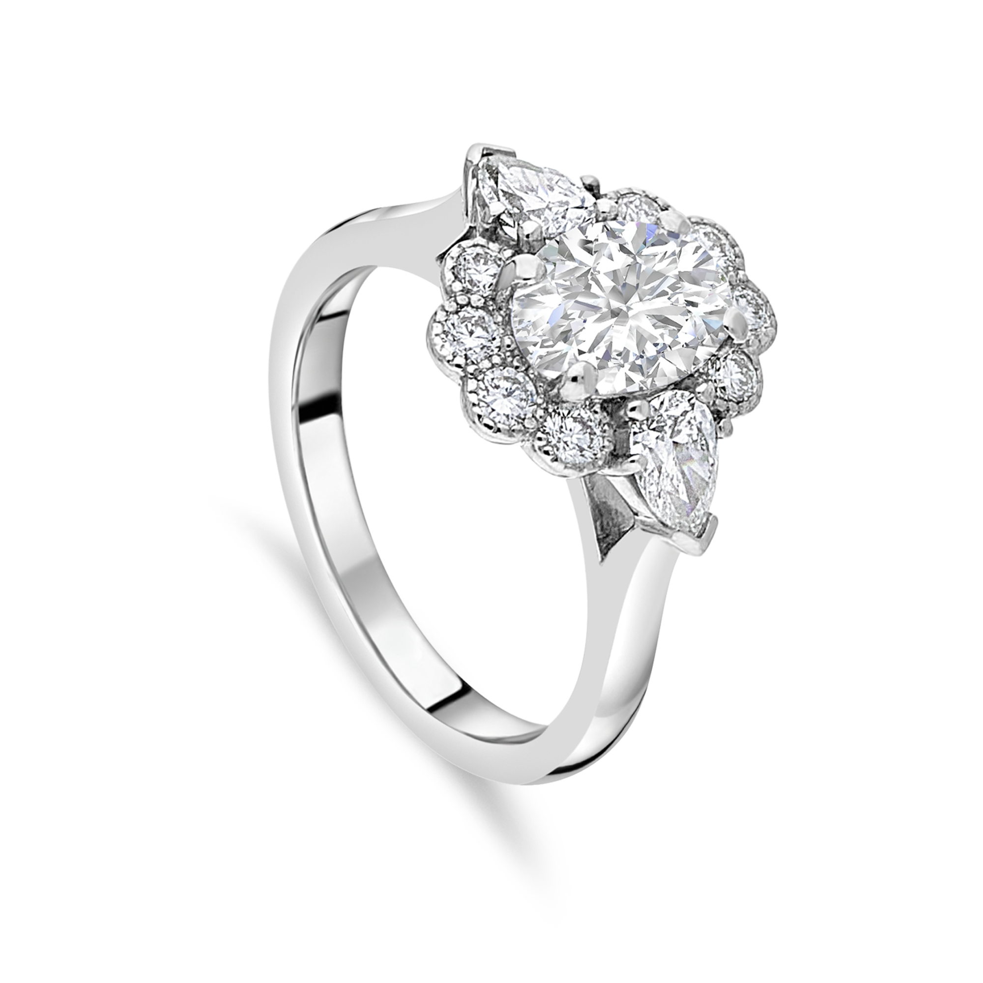 "The ""Kate Petal"" with Oval Diamond Platinum"