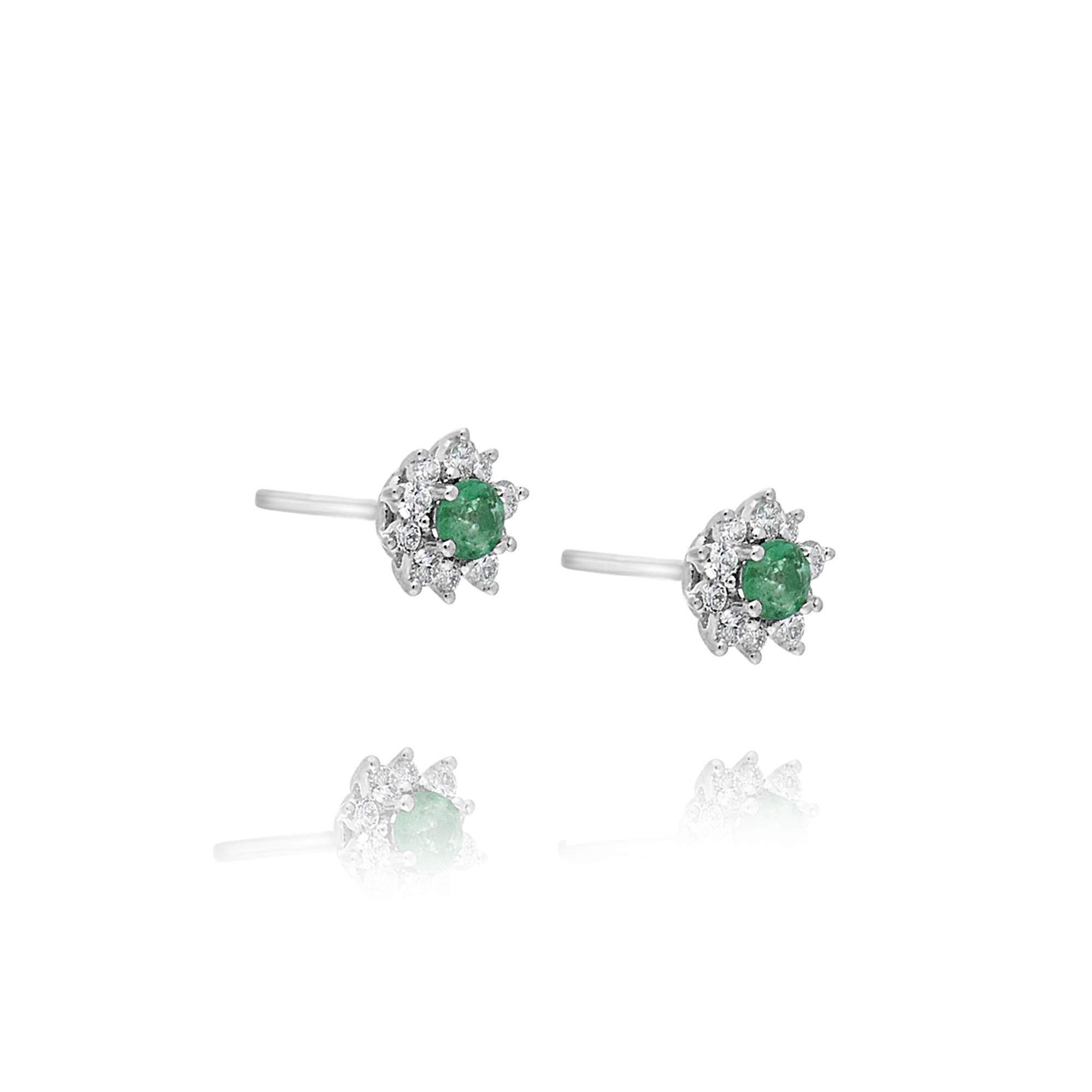Emerald and Diamond Star Earrings