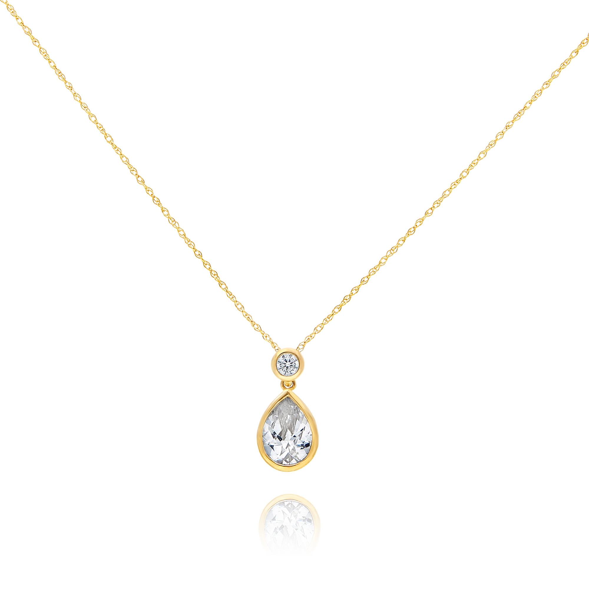 9ct Gold Pear Shaped CZ Pendant