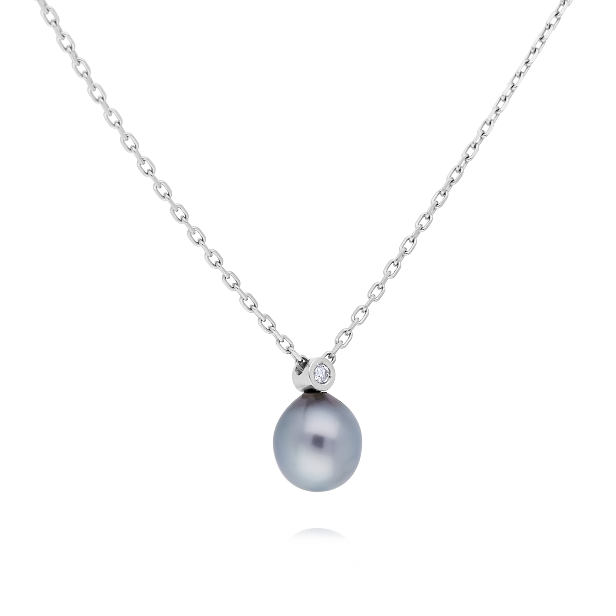 18ct Grey Pearl and Diamond Pendant