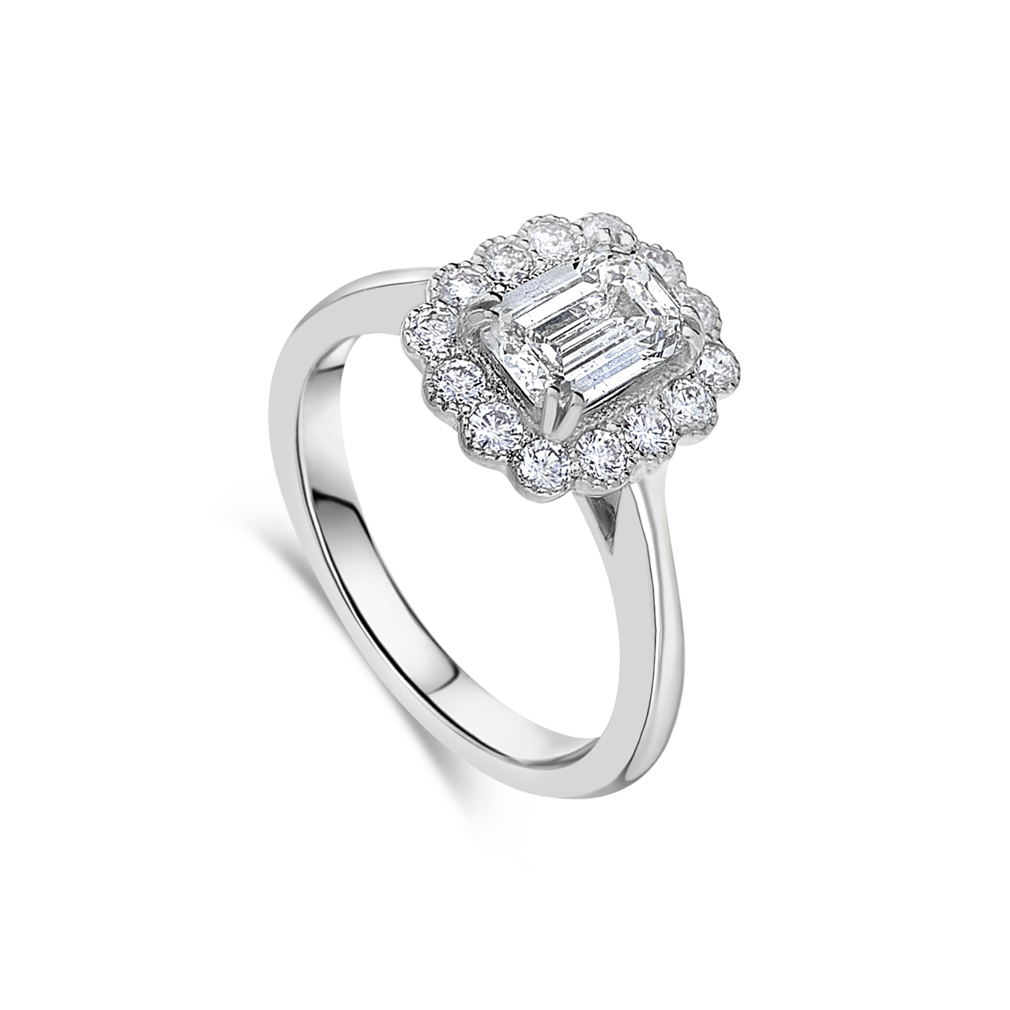 "The ""Kate Flower"" with Emerald Cut Diamond, Platinum"