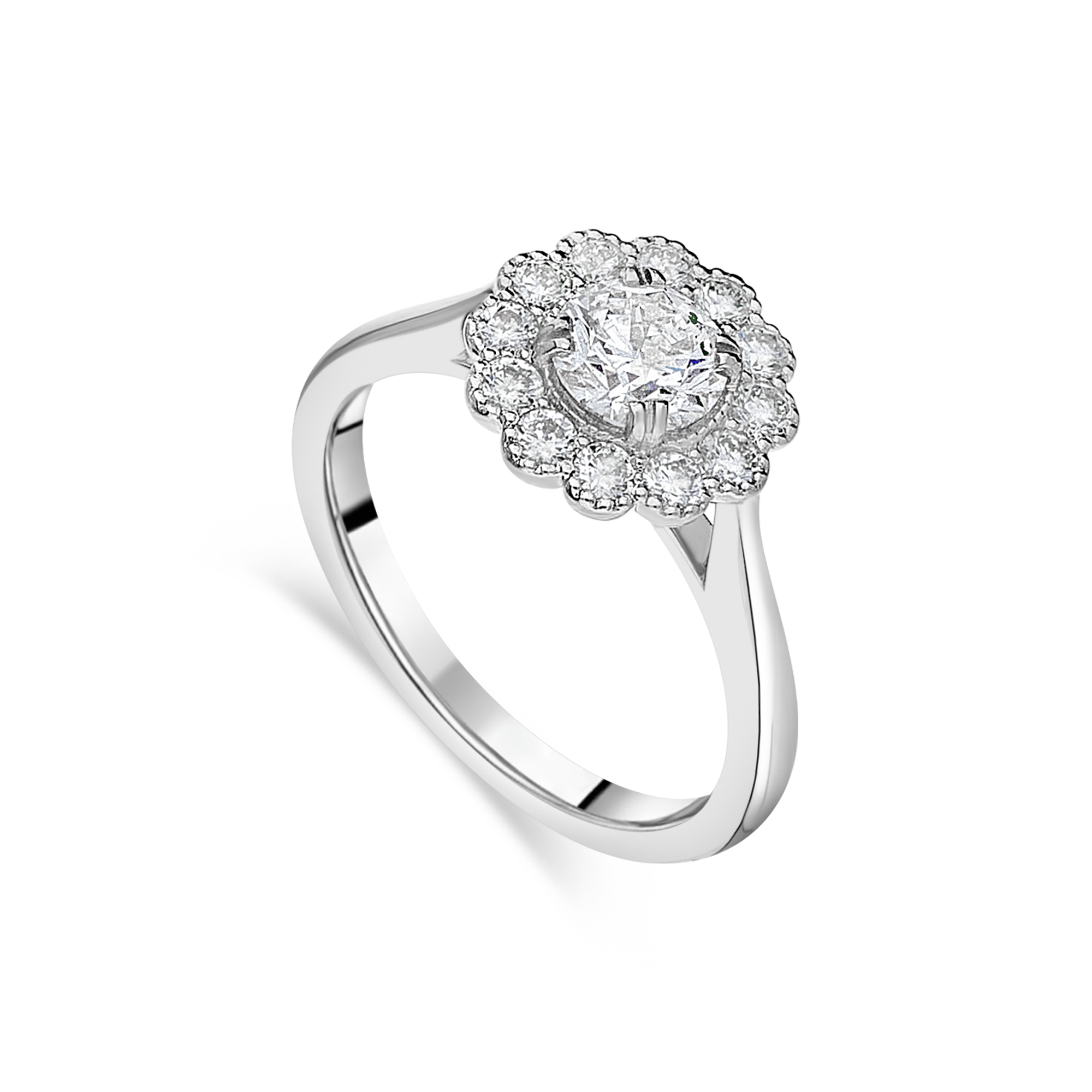 "The ""Kate Flower"" with Round Brilliant, Platinum"