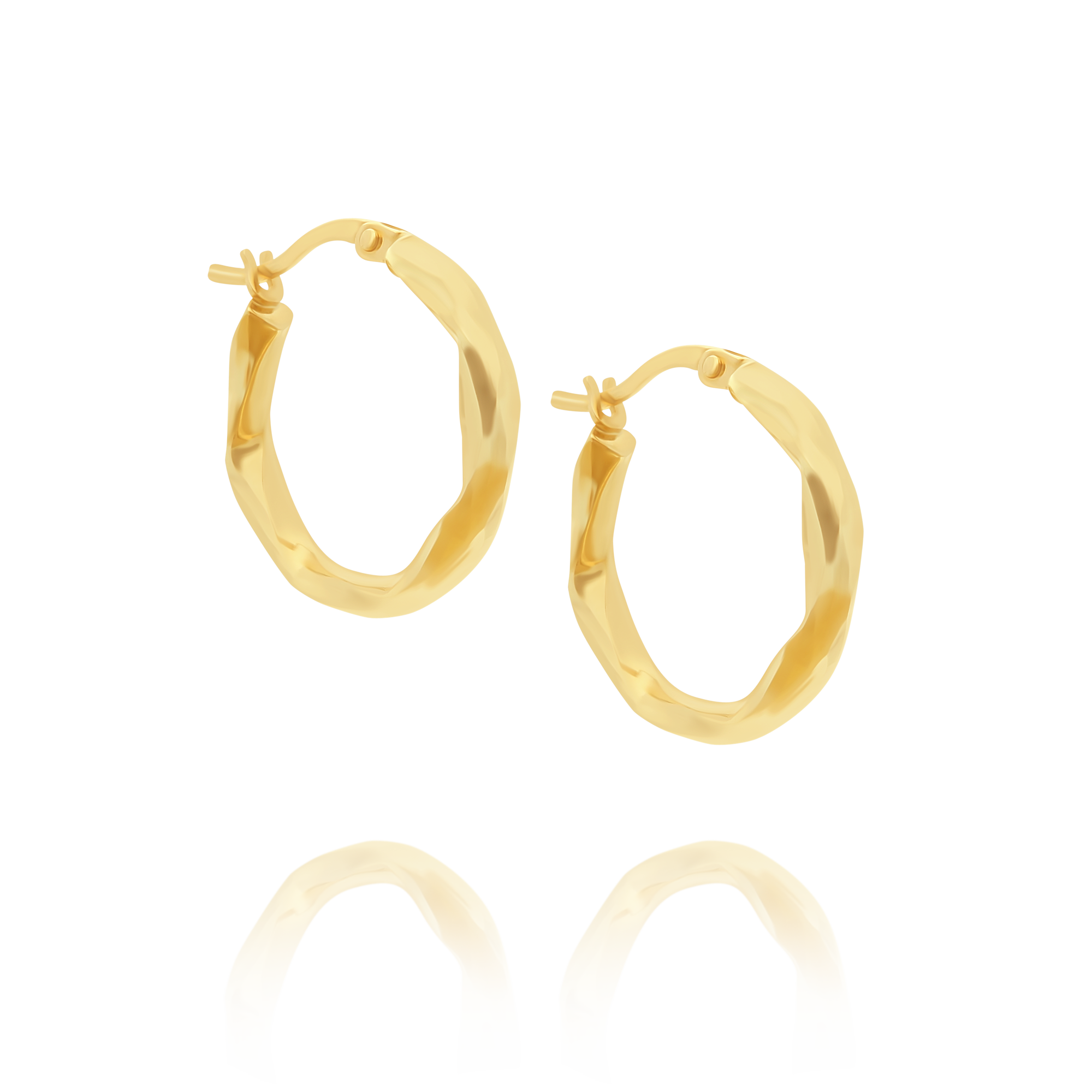Hoop Earrings With Diamond Cut Design Yellow Gold