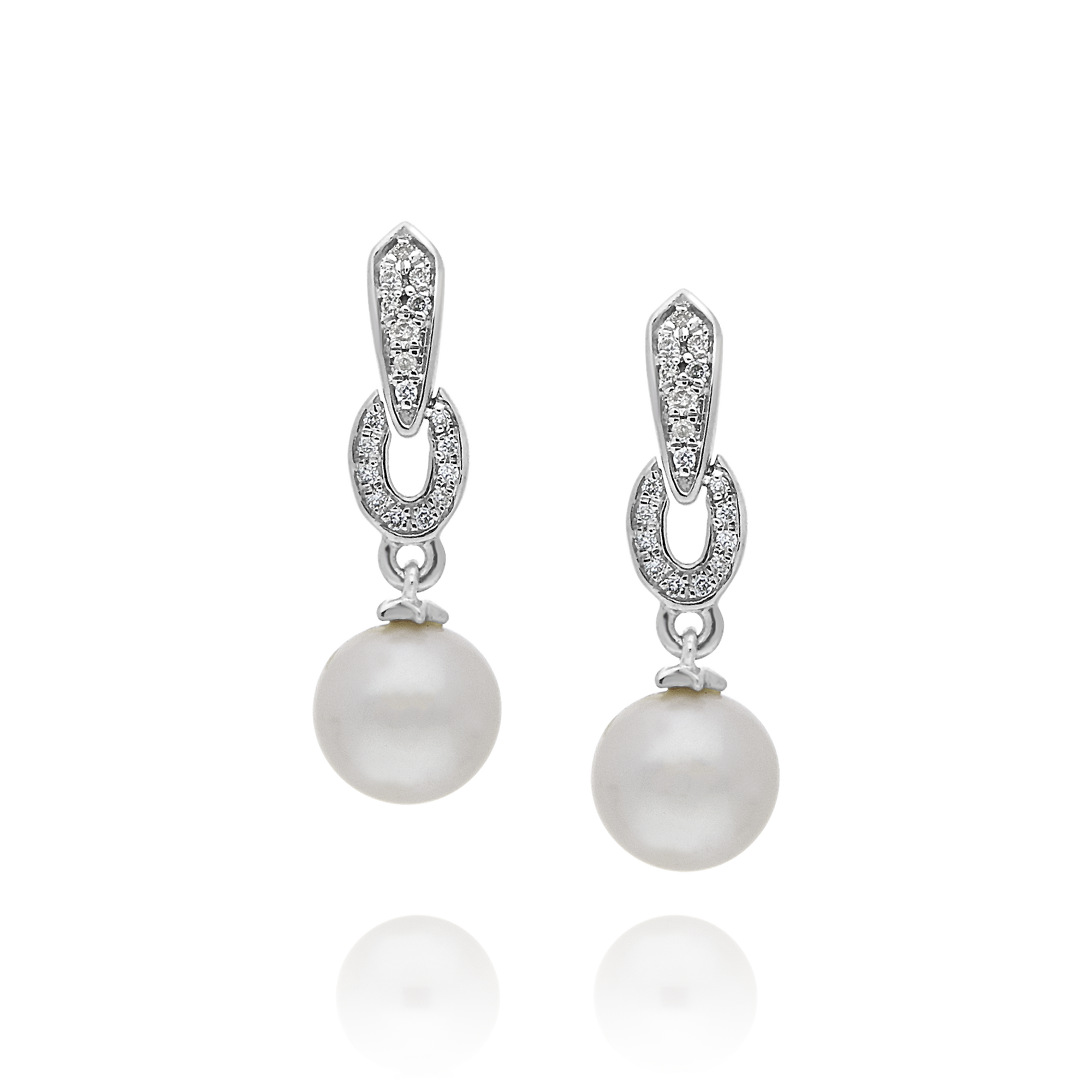 Pearl and Diamond Drop Earrings