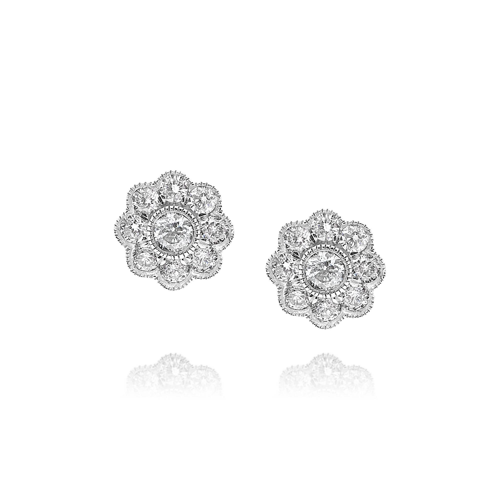 Diamond Cluster Flower Shape Earrings